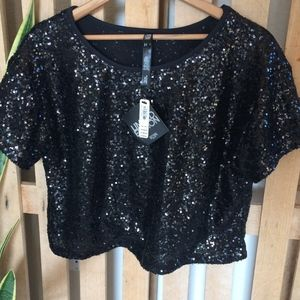 Victoria sport, sequined black blouse, new